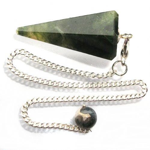 Green Moss Agate Point Dowsing Pendulum GMA